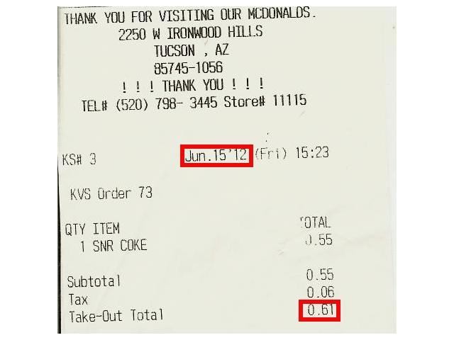Mc Donald's Senior Soda Receipt, June, 2012