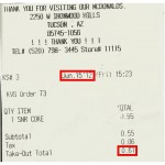 Mc Donald's Senior Soda Receipt, June, 2012